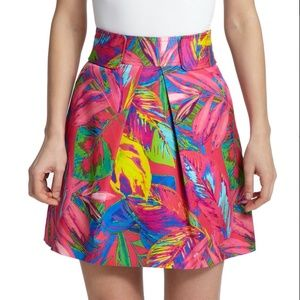 Milly Knee Length Tropical Feather Print Skirt